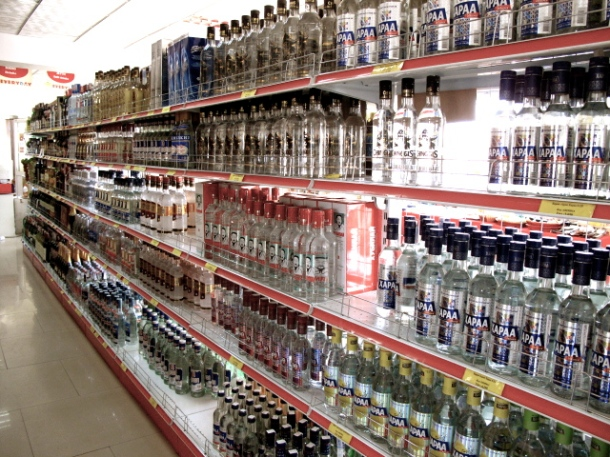 The abundant alcohol selection takes up about 40% of a supermarket store space.